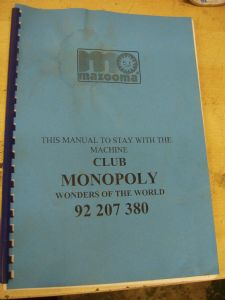 Club Monopoly - Wonders of the World - Scorpion 4 Fruit Machine Manual